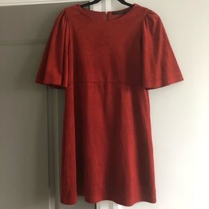 Zara Rust Faux Suede Night Out Dress capped sleeve